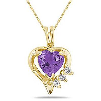 Heart Shape Amethyst & Diamond Pendant in 10K Yellow Gold