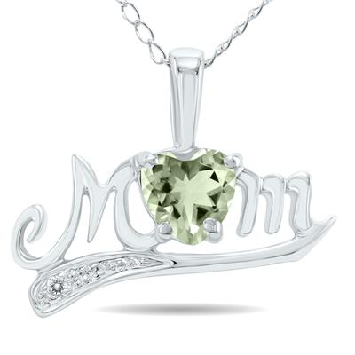 Green Amethyst and Diamond MOM Pendant White Gold