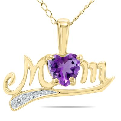 Amethyst and Diamond MOM Pendant in 10K Yellow Gold