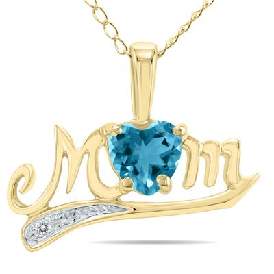 Blue Topaz  and Diamond MOM Pendant in Yellow Gold