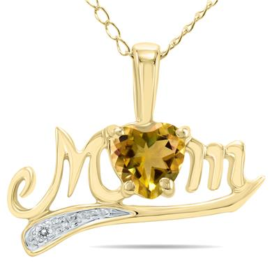 Citrine and Diamond MOM Pendant