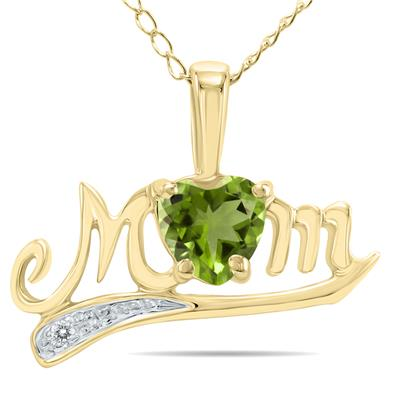 Peridot and Diamond MOM Pendant in 10k Yellow Gold