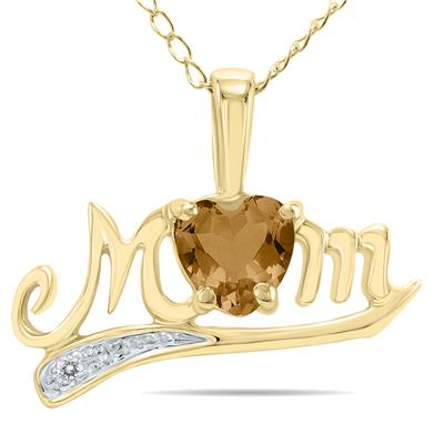 Smokey Quartz  and Diamond MOM Pendant in Yellow Gold
