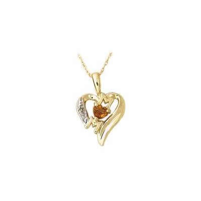 Citrine and Diamond Heart MOM Pendant