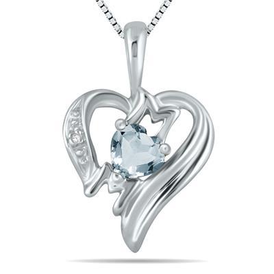 Aquamarine  and Diamond Heart MOM Pendant in 10K White Gold