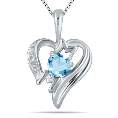 Blue  Topaz  and Diamond Heart MOM Pendant in 10K White Gold
