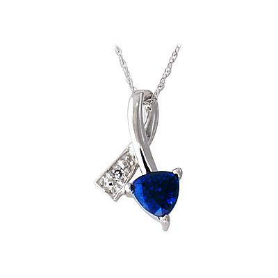 Ribbon Twist Sapphire and Diamond Pendant in White Gold