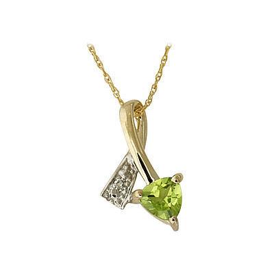 Ribbon Twist Peridot and Diamond Pendant 14k Yellow Gold
