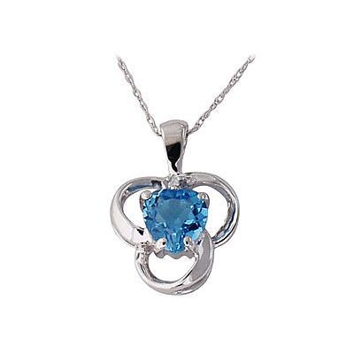 Blue Topaz and Diamond Clover Heart Pendant 14kt White Gold
