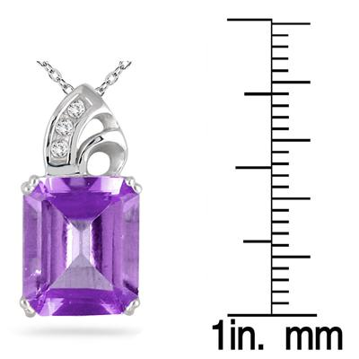 Amethyst and Diamond Pendant 10k White Gold