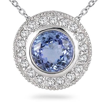 Tanzanite and Diamond Royal Pendant in 14k White Gold