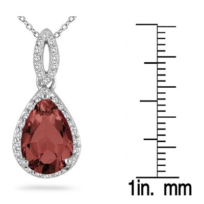 Pear Shape Garnet and Diamond Pendant in 10kt White Gold