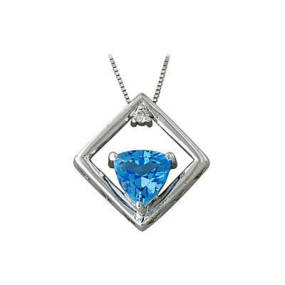 Trillion-Cut Blue Topaz and Diamond Pendant in 10kt White Gold