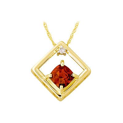 10-kt. Square Cushion-Cut Garnet and Diamond Pendant in Yellow Gold