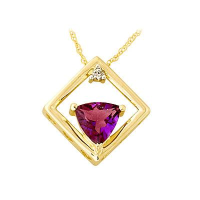 Amethyst and Diamond Pendant 10k Yellow Gold