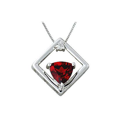 Garnet and Diamond Pendant White Gold