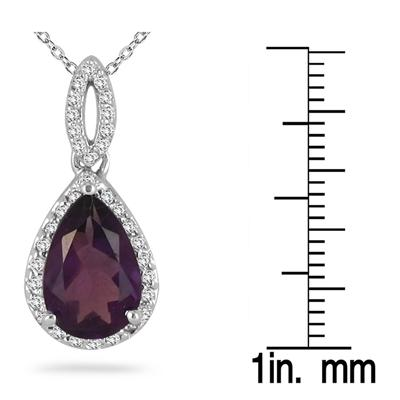 Pear Shape Amethyst and Diamond Pendant 10kt White Gold