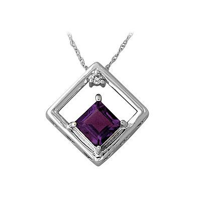 Square-Cut Amethyst and Diamond Pendant