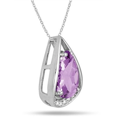 3.75 Carat Pear Shaped Amethyst and Diamond Teardrop Pendant in .925 Sterling Silver