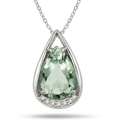 3.75 Carat Pear Shaped Green Amethyst and Diamond Teardrop Pendant in .925 Sterling Silver