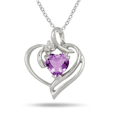 1.00 Carat Heart Shaped Genuine Amethyst and Diamond Pendant in .925 Sterling Silver