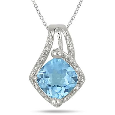 2.25 Carat Cushion Cut Blue Topaz Pendant in .925 Sterling Silver