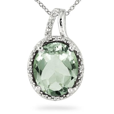 4.00 Carat Diamond and Green Amethyst Pendant in .925 Sterling Silver
