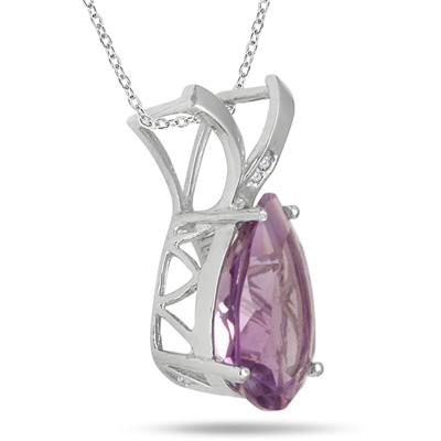 8.00 Carat Pear Shape Amethyst and Diamond Pendant in .925 Sterling Silver