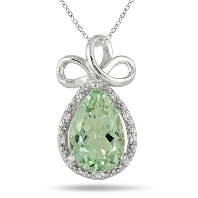 4.50 Carat Pear Shape Green Amethyst and Diamond Pendant in .925 Sterling Silver