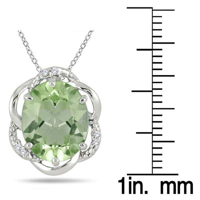 5.00 Carat Oval Green Amethyst and Diamond Pendant in .925 Sterling Silver