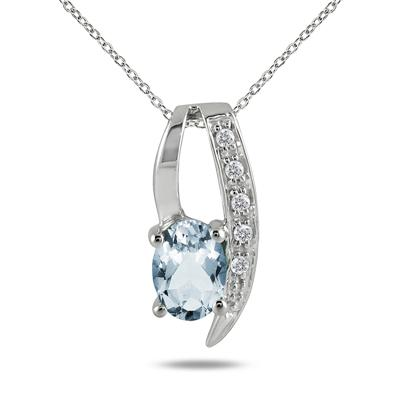 7x5mm All Natural Aquamarine and Diamond Loop Pendant in .925 Sterling Silver