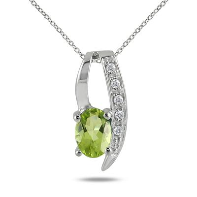 1.00 Carat August Peridot and Diamond Loop Pendant in .925 Sterling Silver