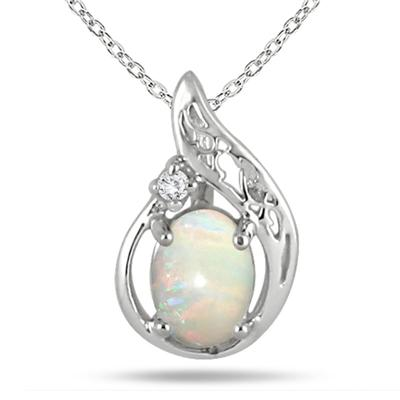 1/2 Carat Opal and Diamond Pendant in .925 Sterling Silver