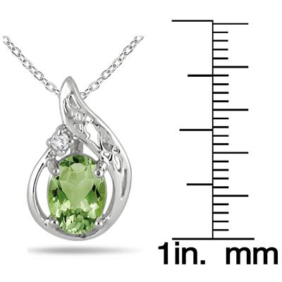1.00 Carat Peridot and Diamond Pendant in .925 Sterling Silver