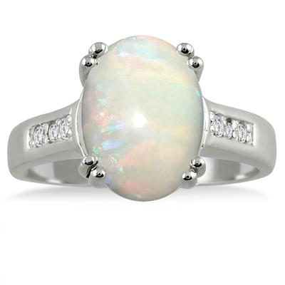 2.60 Carat Opal and Diamond Ring in .925 Sterling Silver