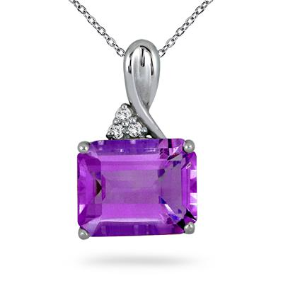 4.75 Carat All Natural Amethyst & Diamond Pendant in .925 Sterling Silver