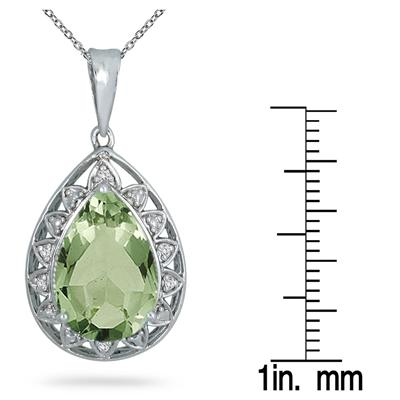5 Carat Pear Shape Green Amethyst and Diamond Pendant in .925 Sterling Silver