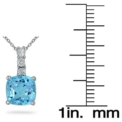 2.50 Carat Cushion Cut Blue Topaz and Diamond Pendant in .925 Sterling Silver