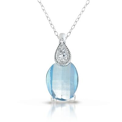 Barrel Cut Blue and White Topaz Pendant in .925 Sterling Silver