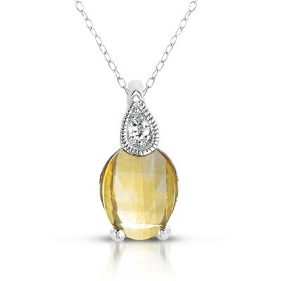 Barrel Cut Citrine and White Topaz Pendant in .925 Sterling Silver