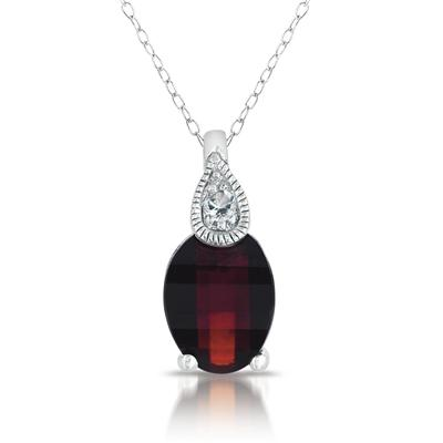 Barrel Cut Garnet and White Topaz Pendant in .925 Sterling Silver