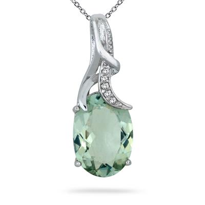 7.25 Carat Green Amethyst and Diamond Pendant in .925 Sterling Silver