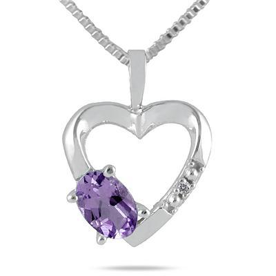 10-kt. Tanzanite and Diamond Heart Pendant