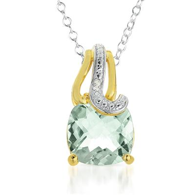 4.15 Carat Cushion Cut Green Amethyst and Diamond Pendant in 18K Gold Plated Sterling Silver