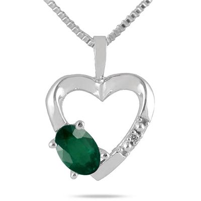 10-kt. Emerald and Diamond Heart Pendant