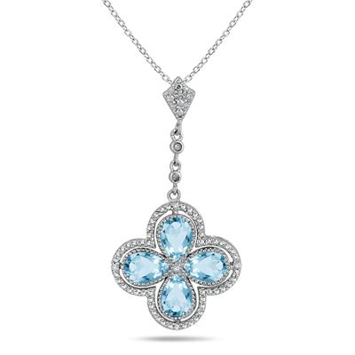 1.50 Carat Pear Shaped Blue Topaz and Diamond Pendant in .925 Sterling Silver