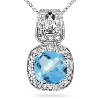 1.50 Carat Diamond and Blue Topaz Pendant in .925 Sterling Silver