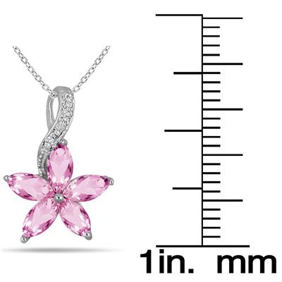 1.75 Carat Pink Topaz and Diamond Flower Pendant in .925 Sterling Silver