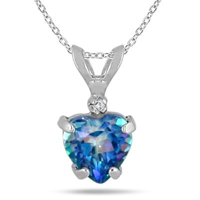 6MM Sheer Luck Blue Topaz Heart and Diamond Pendant in .925 Sterling Silver