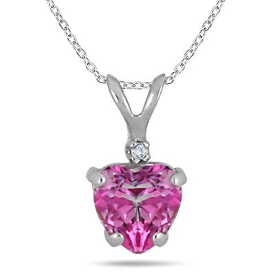 6MM Pink Topaz Heart and Diamond Pendant in .925 Sterling Silver